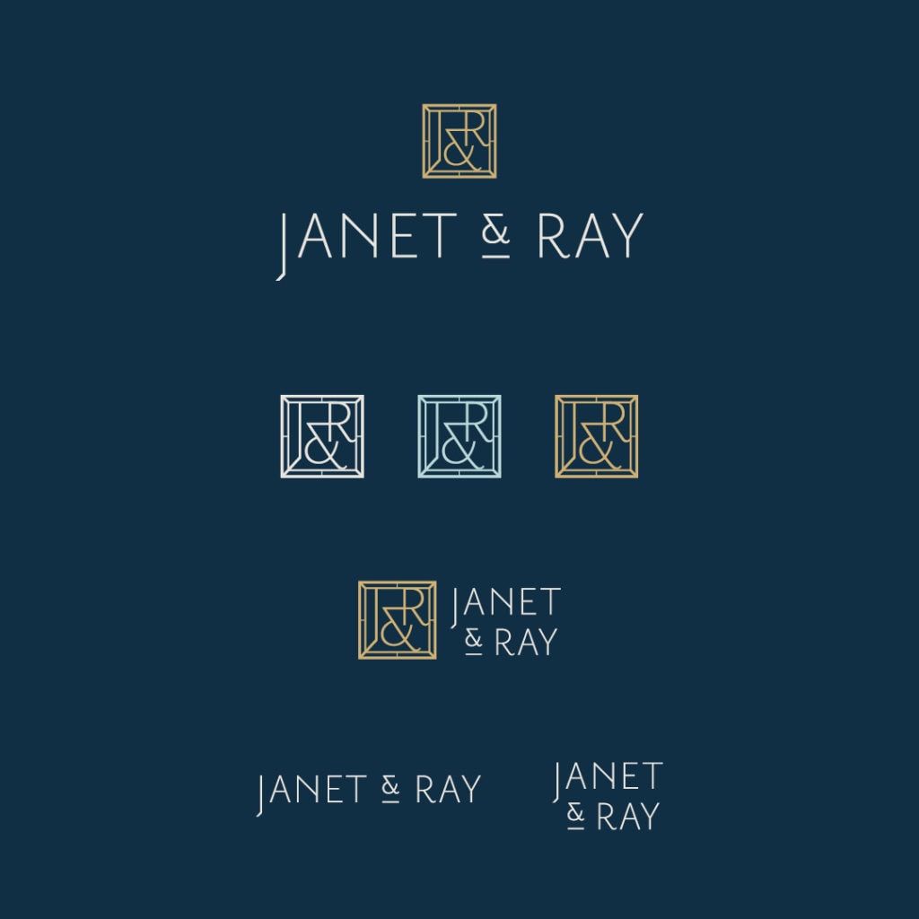 Janet and Ray logo and monogram design