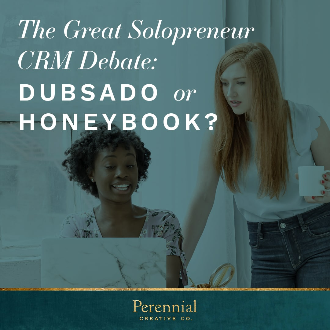 two women discussing the differences between Honeybook and Dubsado
