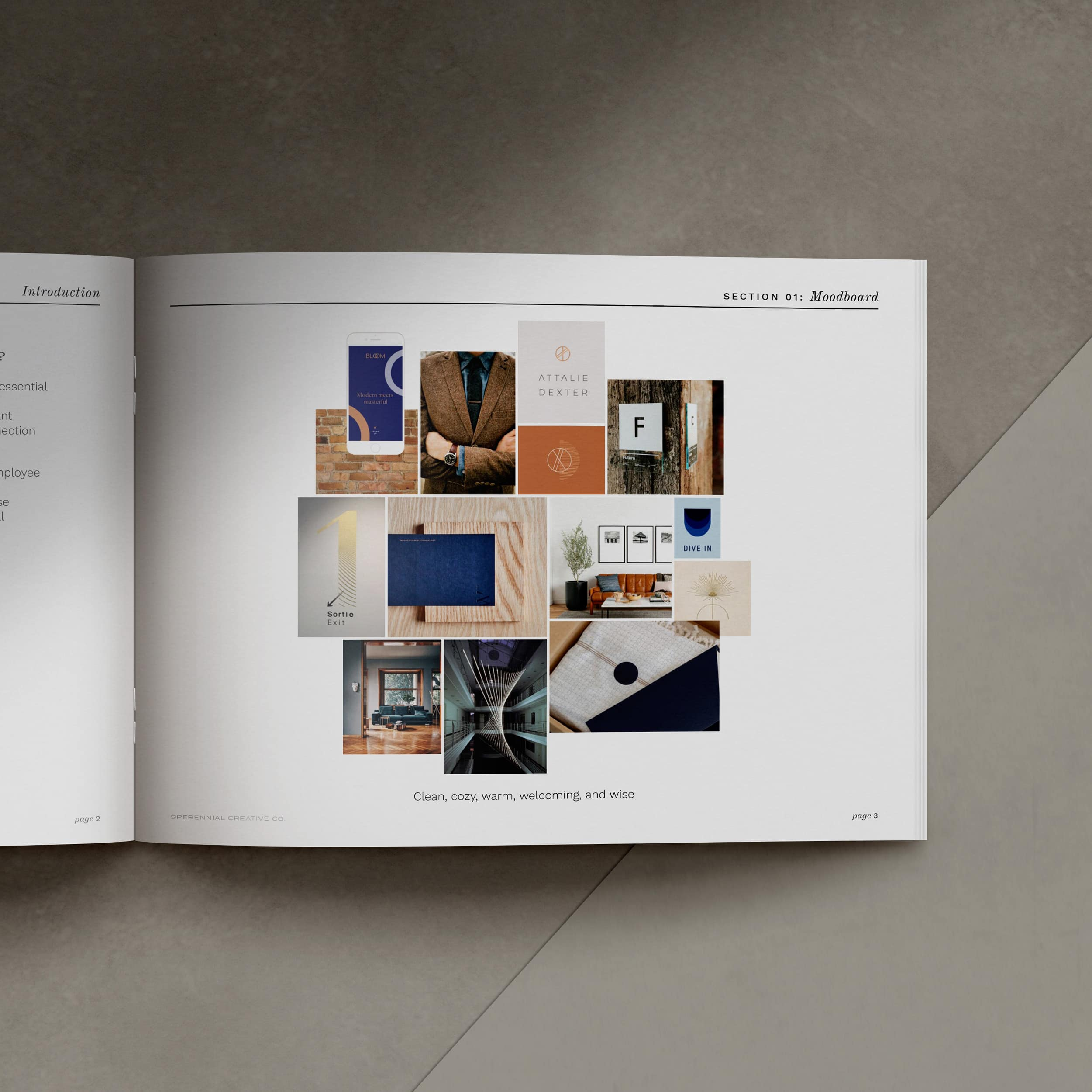 Avenues Unlimited moodboard in a booklet laid out on a gray background
