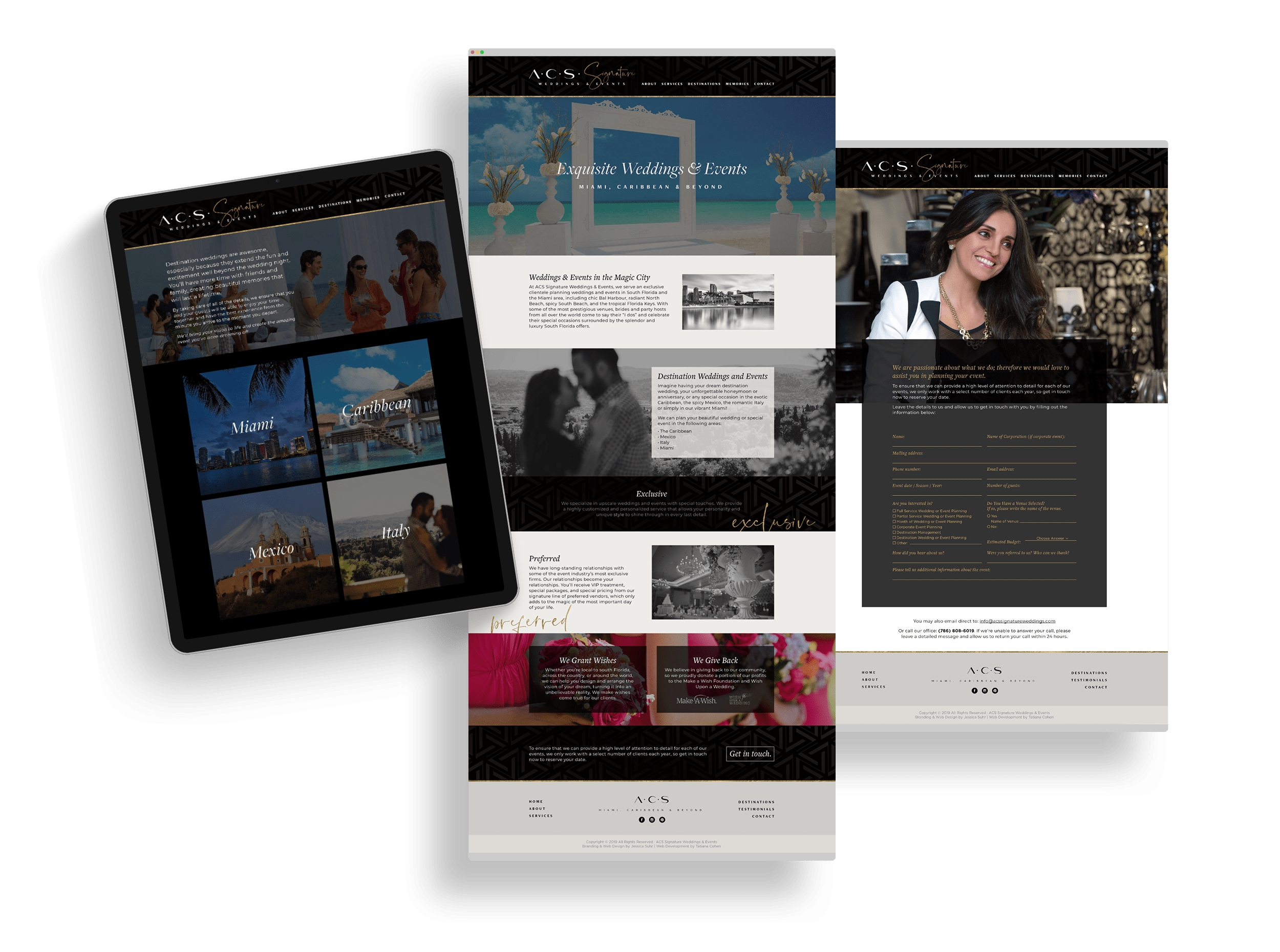 iPad and two web page designs