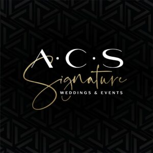 ACS Signature Wedding & Events Logo on a black background with a pattern