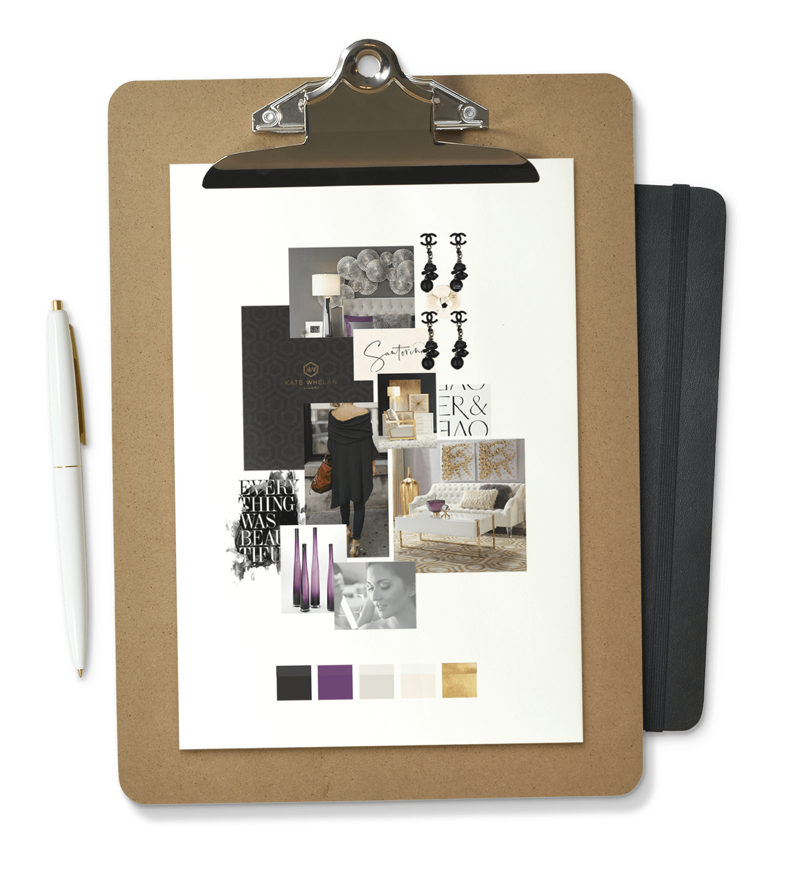 Moodboard image on a clipboard with a pen and a black notebook