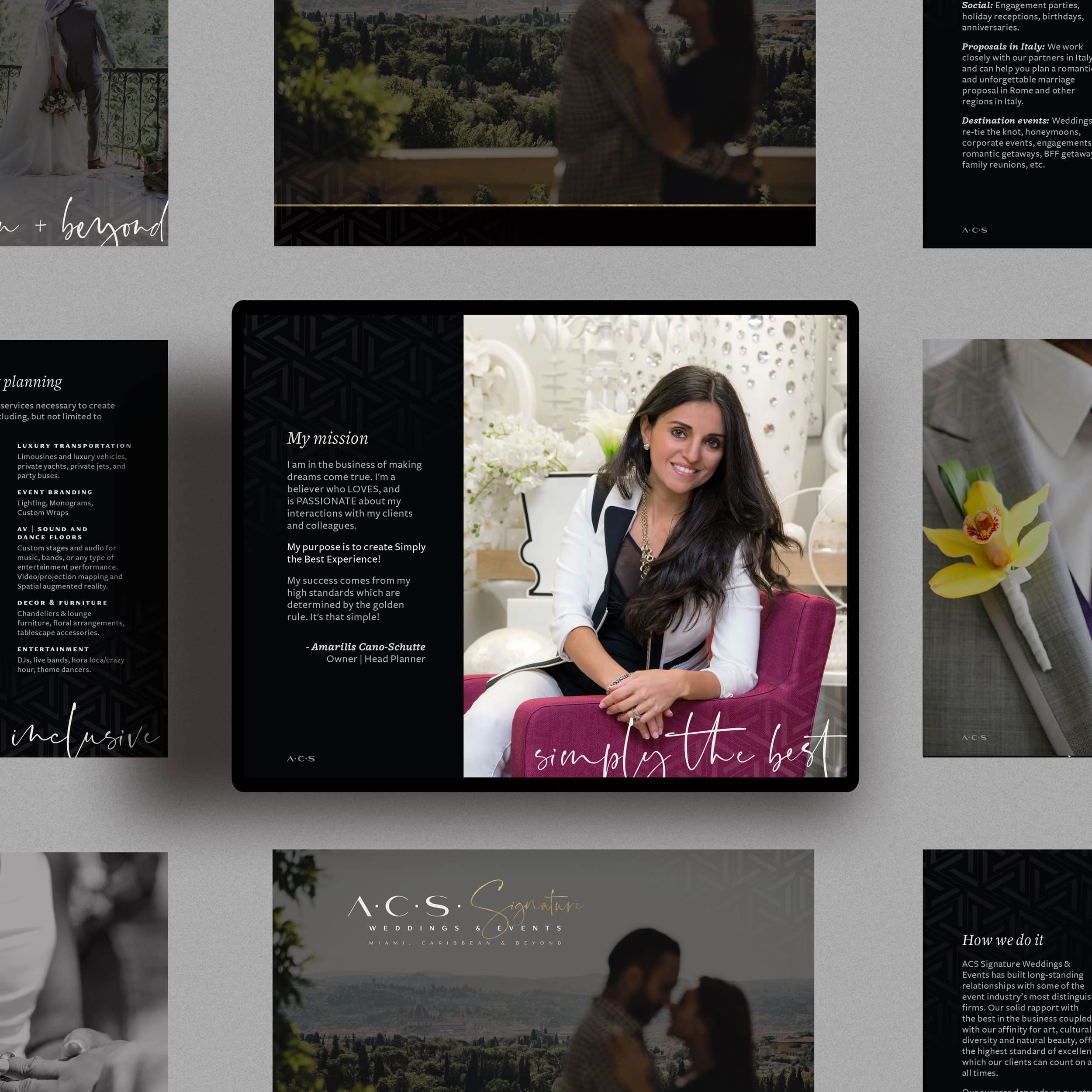 A grid of images and the center image has a photo of a woman